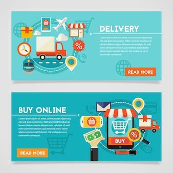 Bandiere di concetto di acquisto e consegna in linea.