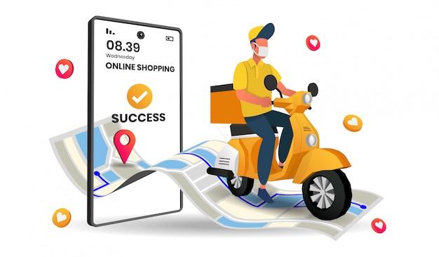 Shopping online, illustrazione di consegna