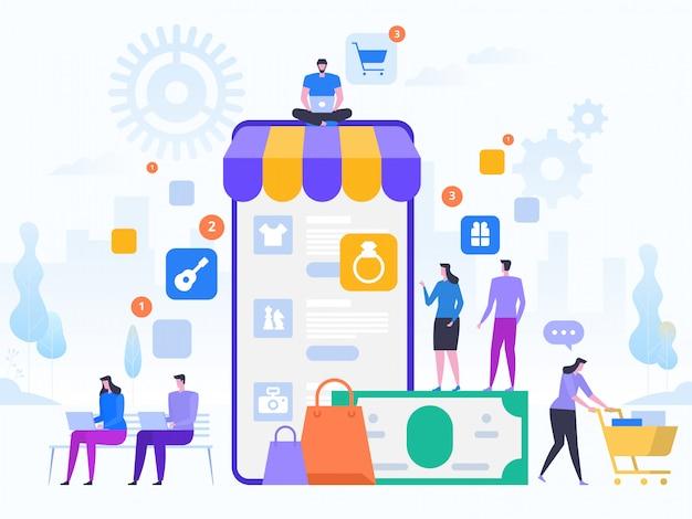 Acquisti online e consegna degli acquisti. vendite e-commerce, marketing digitale. concetto di vendita e consumismo. applicazione negozio online. tecnologie digitali e shoppin. illustrazione stile piatto.