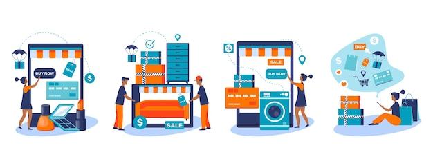Set di banner web per lo shopping online e la consegna