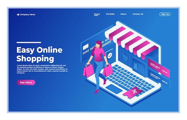 Concetto di design dello shopping online con le donne e la pagina di destinazione dell'illustrazione vettoriale isometrica del computer portatile