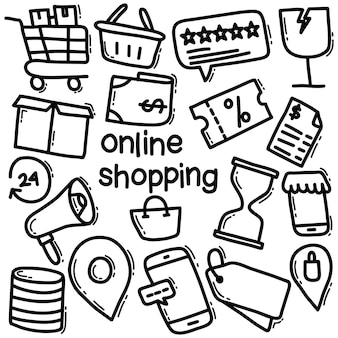 Shopping in linea doodle icon pack