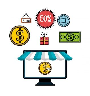 Sconto di e-commerce shopping online isolato