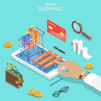 Acquisti online, e-commerce, pagamento mobile.