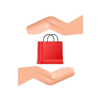 Concetto di e-commerce per lo shopping online con l'icona di shopping e marketing online mani che tengono