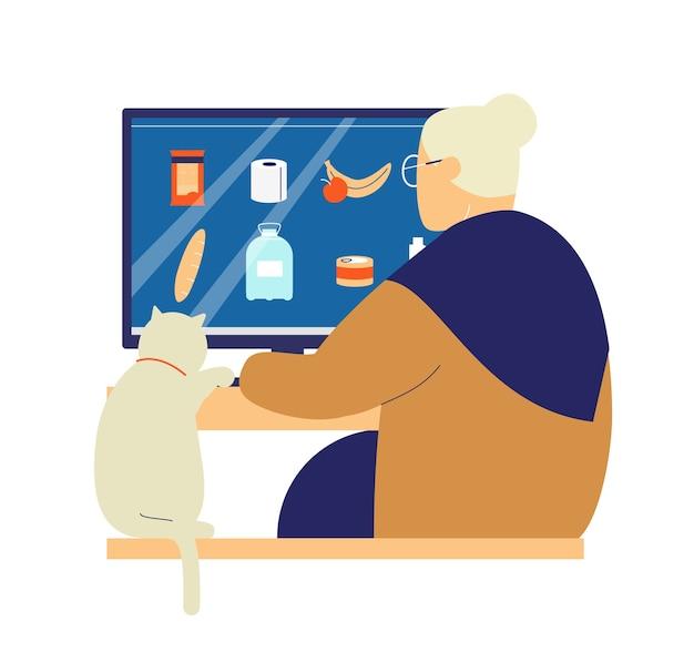 Shopping online per gli anziani durante il concetto di quarantena del coronavirus.