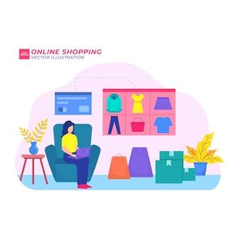 Illustrazione piatta dello shopping online compra vendita di carte commerce