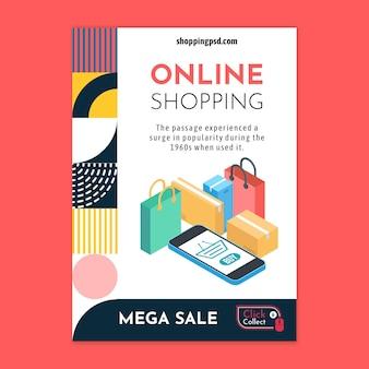 Modello di volantino dello shopping online Vettore Premium