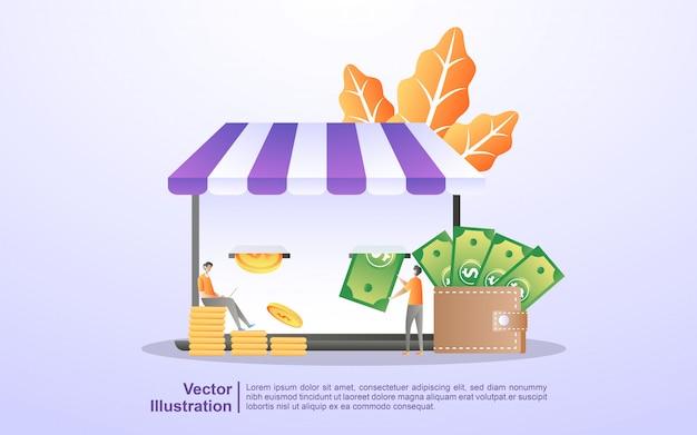 Shopping online, rimborso, risparmio di denaro e guadagno, trasferimento di denaro online