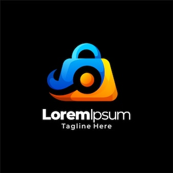 Progettazione del modello di logo gradiente dello shopping online