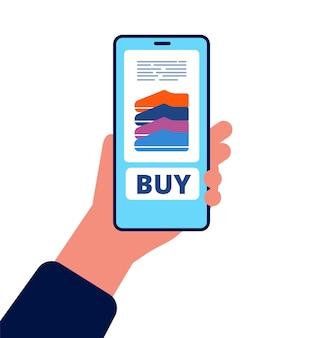 Acquisti online. mano che tiene smartphone premere il pulsante per verificare l'acquisto di acquisto online del prodotto