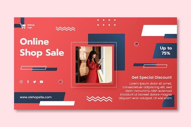 Modello di banner orizzontale dello shopping online