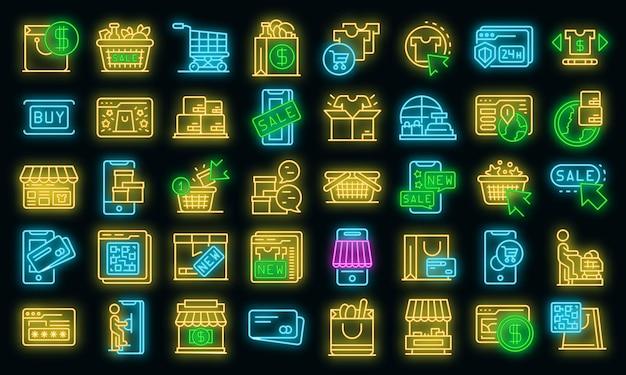 Le icone dello shopping online hanno impostato il vettore neon