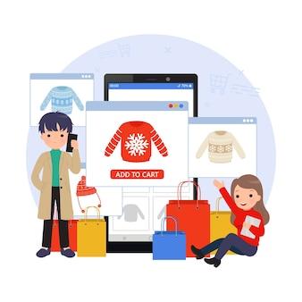 Illustrazione dello shopping online. uomo e donna che utilizzano il proprio telefono cellulare e tablet per fare acquisti. pagina di destinazione dell'e-commerce. design piatto del fumetto.