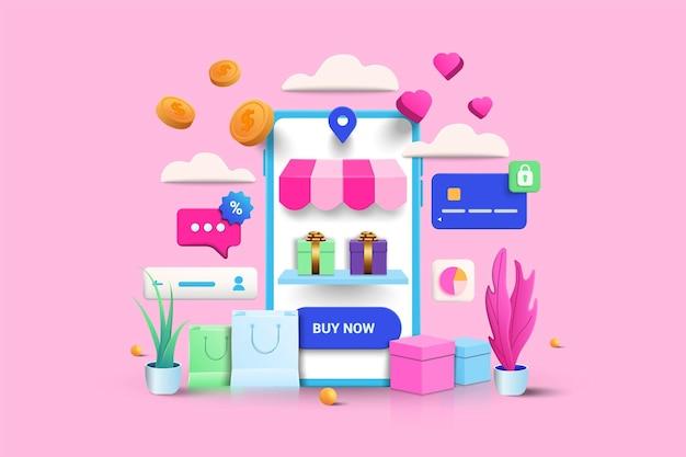 Illustrazione dello shopping online su sfondo rosa