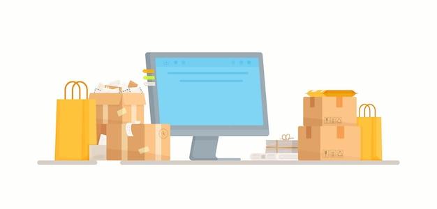 Acquisti online. illustrazione di un ufficio postale. registratore di cassa. ordini da internet alla casella di posta.