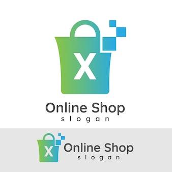 Acquisti online iniziali letter x logo design