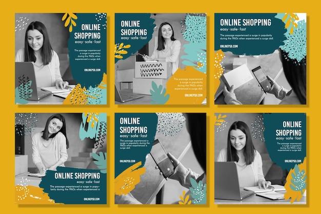 Modello di post di instagram per lo shopping online Vettore Premium