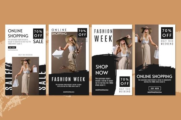 Raccolta di storie di instagram di shopping online