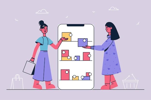 Acquisti in linea e illustrazione di acquisto su internet