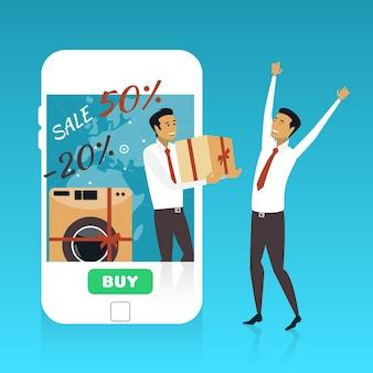Lo shopping online su internet utilizzando lo smartphone mobile consegna veloce concetto illustrazione vettoriale in fla...