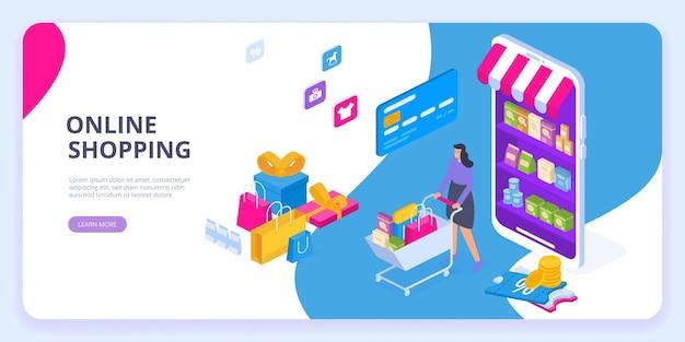Concetto isometrico dello shopping online. grande vendita.