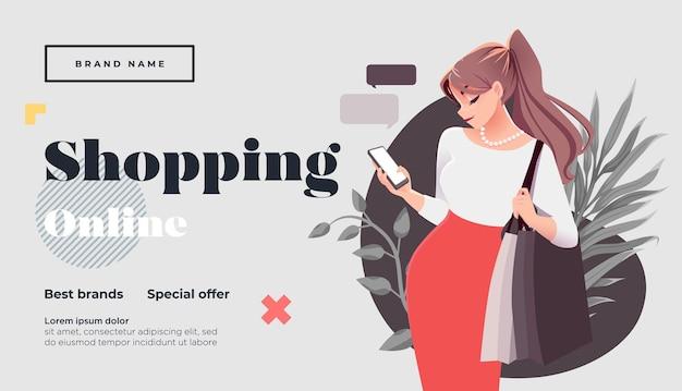 Pagina di destinazione dello shopping online o modello di banner ragazza con pacchetti per lo shopping