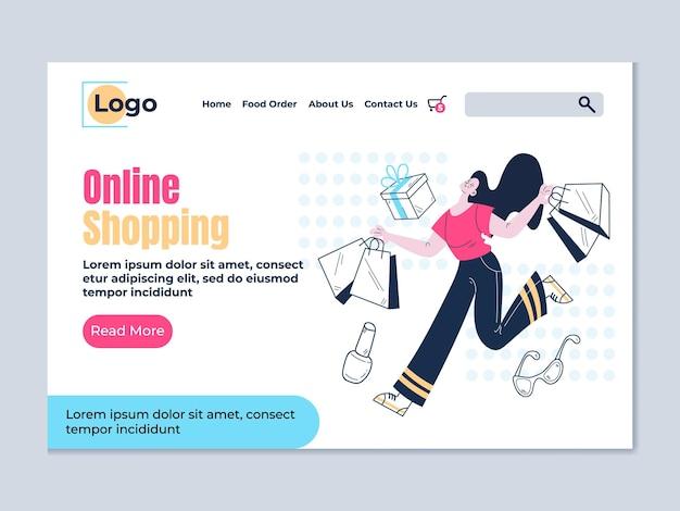 Modello di elemento di design della pagina di destinazione dello shopping online
