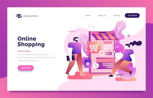 Pagina di destinazione dello shopping online per il web