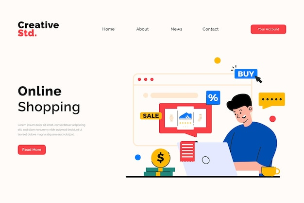 Pagina di destinazione dello shopping online per il concetto di sito web