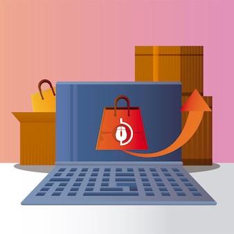 Lo shopping online laptop consegna scatole borsa illustrazione