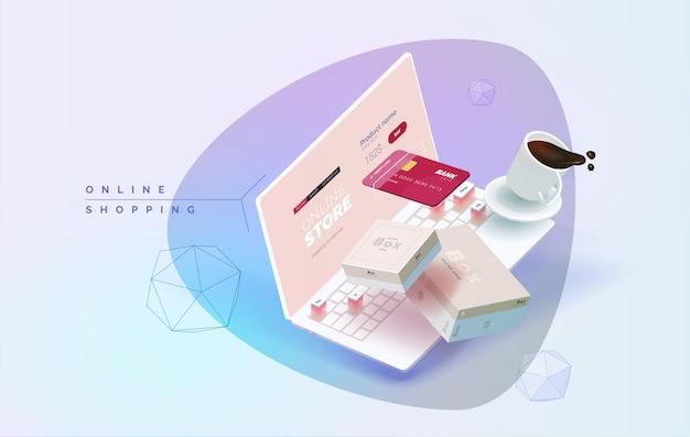 Computer portatile di acquisto in linea su un'illustrazione 3d della tavola