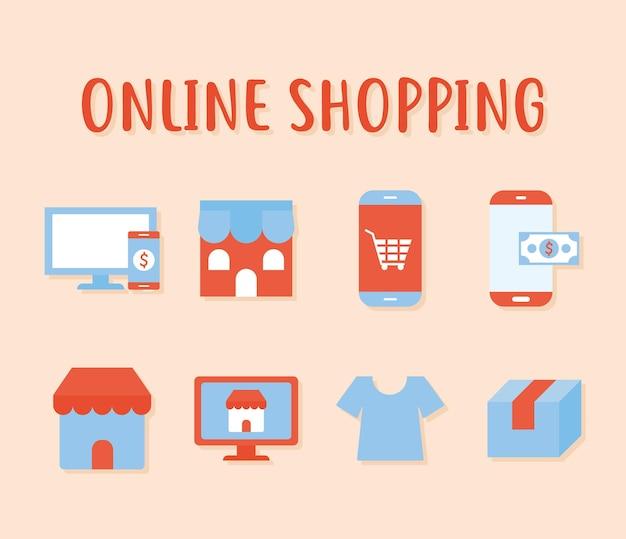 Iscrizione dello shopping online e set di icone dello shopping online