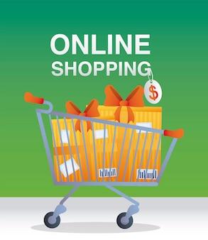 Shopping in linea lettering tag prezzo e carrello con illustrazione di regali