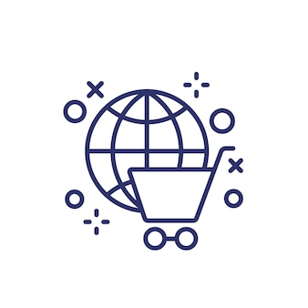 Icona della linea di shopping online con un carrello