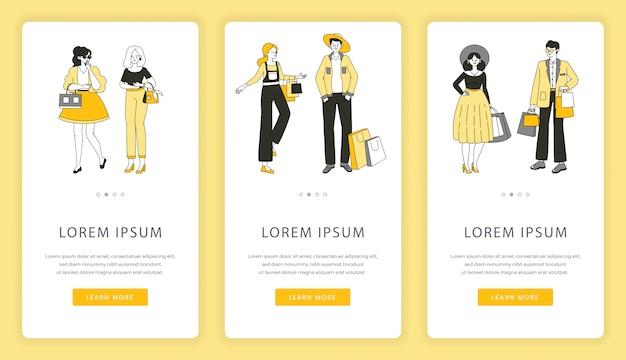 Schermate delle app mobili per lo shopping online. offerta speciale, shopping, vendita nel modello di sito web del negozio.