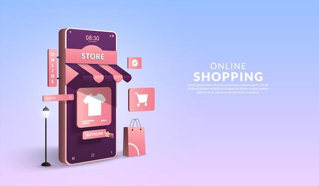 Shopping online su smartphone 3d marketing digitale concetto di applicazione mobile sotto forma di negozio