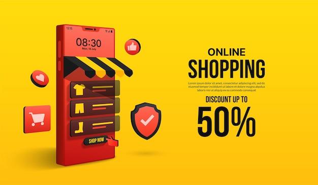 Shopping online sul concetto di applicazione mobile di negozio di marketing digitale e negozio tramite smartphone