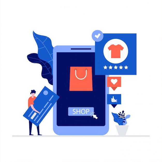 Shopping online e concetto di illustrazione di commercio mobile con personaggi.