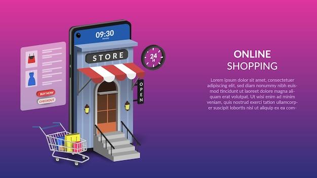 Acquisti online su illustrazione mobile per web o app mobile