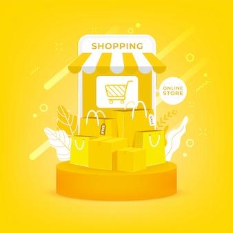 Shopping online su cellulare. sacchetto della spesa e scatole su fondo giallo.