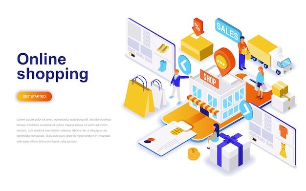 Lo shopping online moderno concetto di design piatto isometrica.