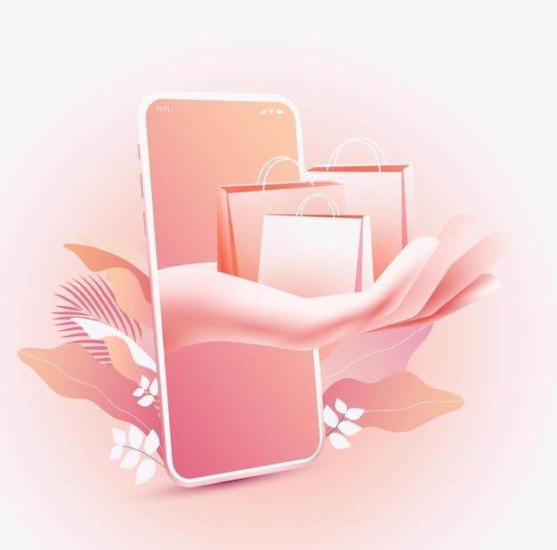 Acquisti online o boutique online. tiene in mano le borse della spesa ed esce dallo schermo del cellulare in rosa chiaro