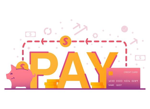 Shopping online pagamento bancario servizio finanziario pila di monete in dollari trasferimento di denaro elettronico