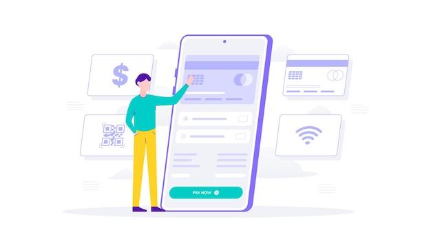 Acquisti online e modalità di pagamento con smartphone. carta di credito del metodo di pagamento con clic dell'uomo illustrazione piatta