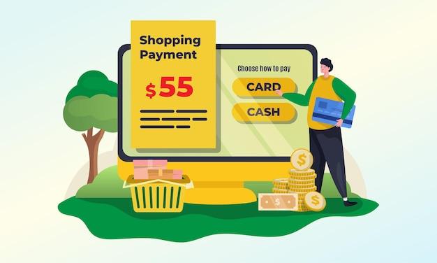 Concetto di illustrazione del pagamento dello shopping online