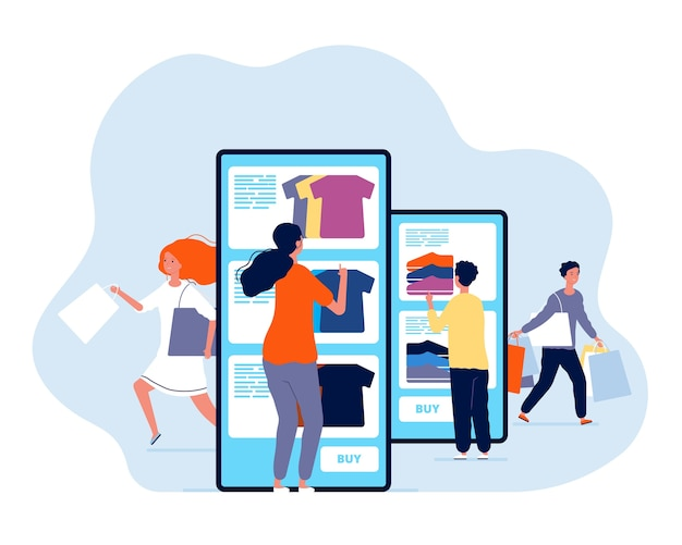Acquisti online. persone che acquistano prodotti nel concetto di pagamento di smartphone e commerce negozio web. illustrazione shopping con smartphone, consumismo mobile