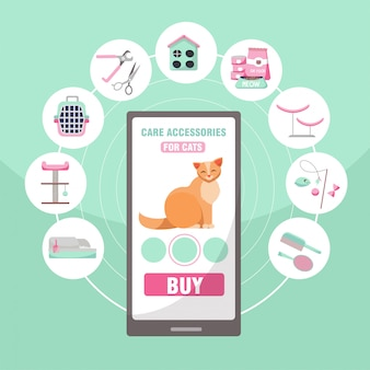 Shopping online di accessori per la cura degli animali da compagnia per gatti. 9 categorie di prodotti per gatti: tronchesi per artigli, cibo, case, tiragraffi, spazzola, gabinetto, portando, giocattoli, illustrazione vettoriale piatto dei cartoni animati