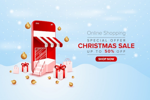 Banner di vendita speciale di natale di promozione dello shopping online su cellulare o web