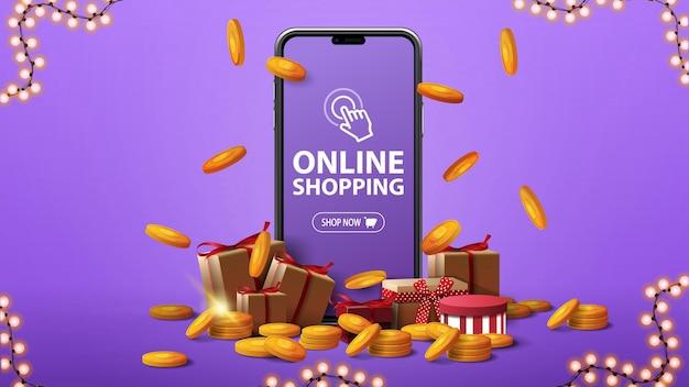 Shopping online, banner viola con un grande smartphone con scatole di regali e monete d'oro intorno